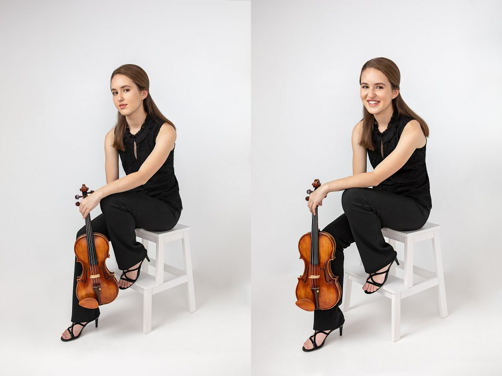 Studio portraits of Hanover, NH High School violinist