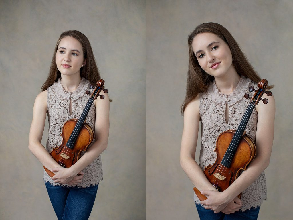 Casual senior studio portraits with violin - neutral background