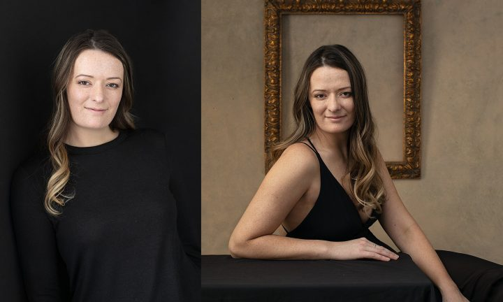 Portraits of Nichole.  Wearing black with black background, Wearing black gown with vintage frame behind her.