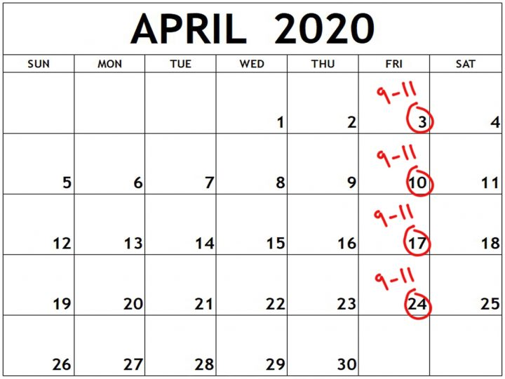 April 2020 photo course calendar