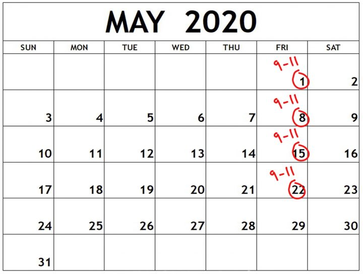 May 2020 photo course calendar
