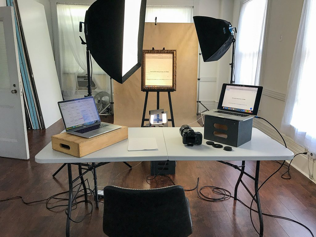 Behind the scenes setup for two Zoom meetings, one for the camera club (who were in Vermont and New Hampshire) and one for the model (who was in Arizona).