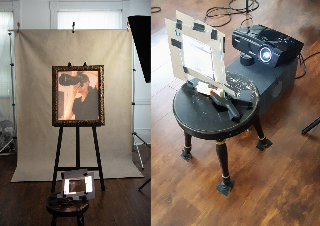 Behind the scenes setup, showing the projector and masking the light