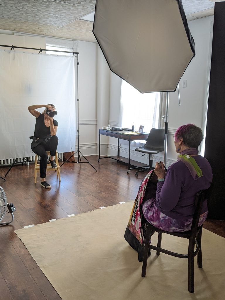 Behind the scenes at Maundy Mitchell Photography studio during the photographing of Protest Portraits