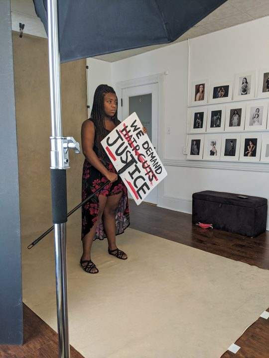 Behind the scenes in Maundy Mitchell Photography studio in Plymouth, NH, during the making of Protest Portraits