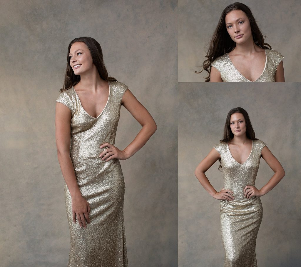 Fashion photos of Abby wearing a gold gown