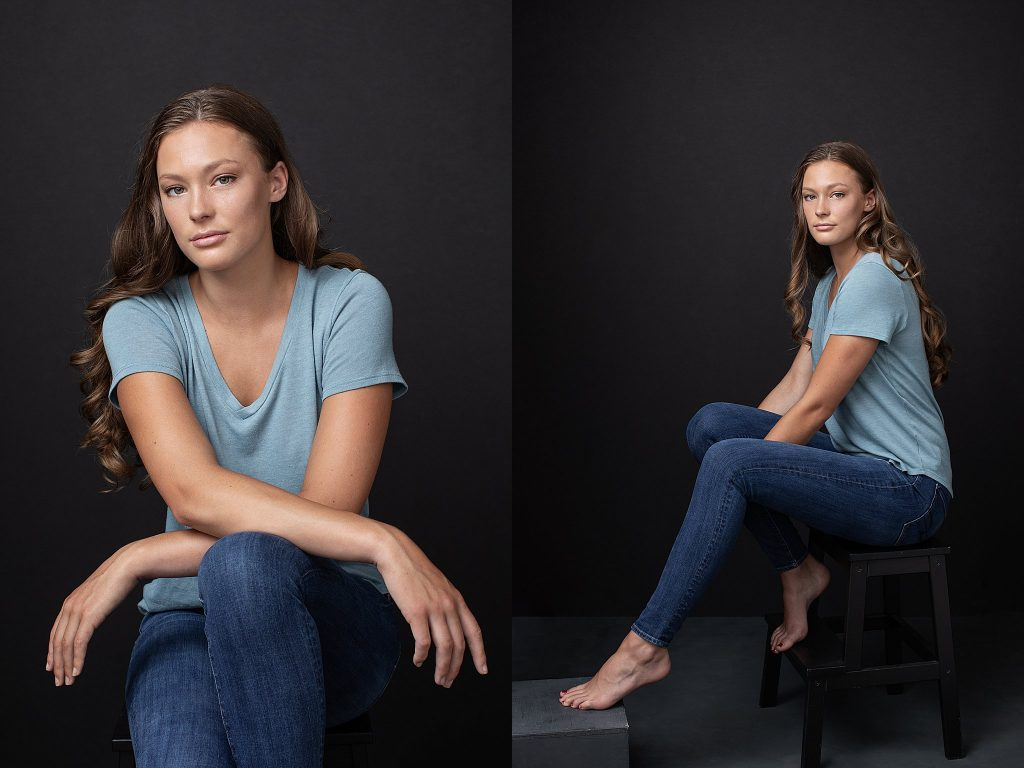 NH studio portraits - Abby in jeans and t-shirt