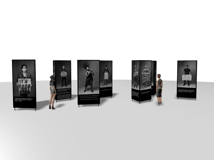 Concept rendering of Protest Portraits - life size art installation