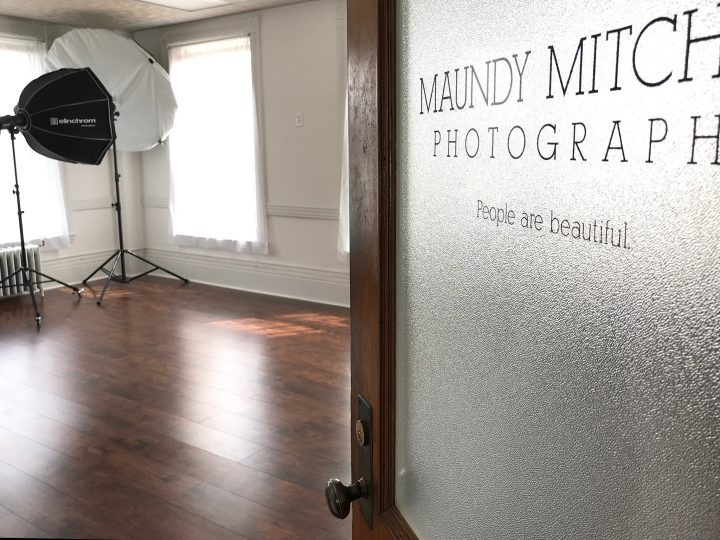 Open door to Maundy Mitchell's photography studio, welcoming students