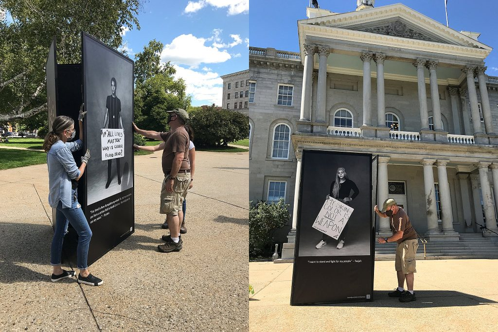 Installing the Protest Portraits exhibit in front of the New Hampshire State House steps