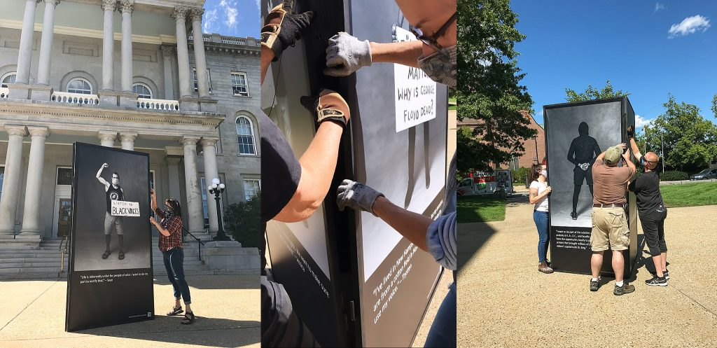 Installing the Protest Portraits exhibit in front of the NH State House in Concord, NH