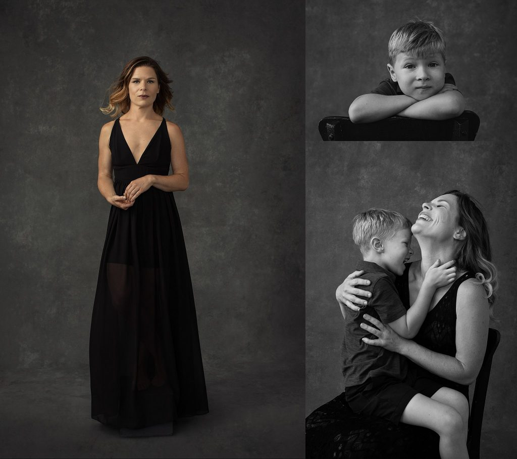 Individual portraits and black and white mother-son portrait