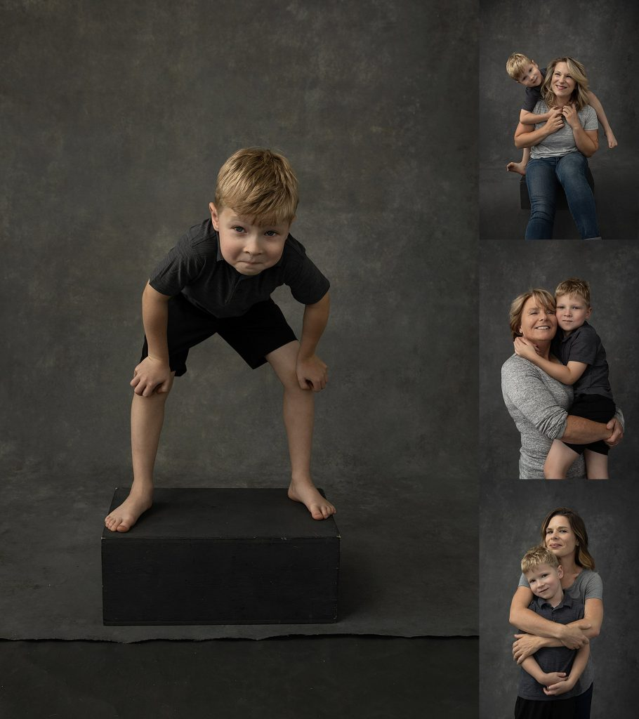 A collage of photos - children's portrait and family with child
