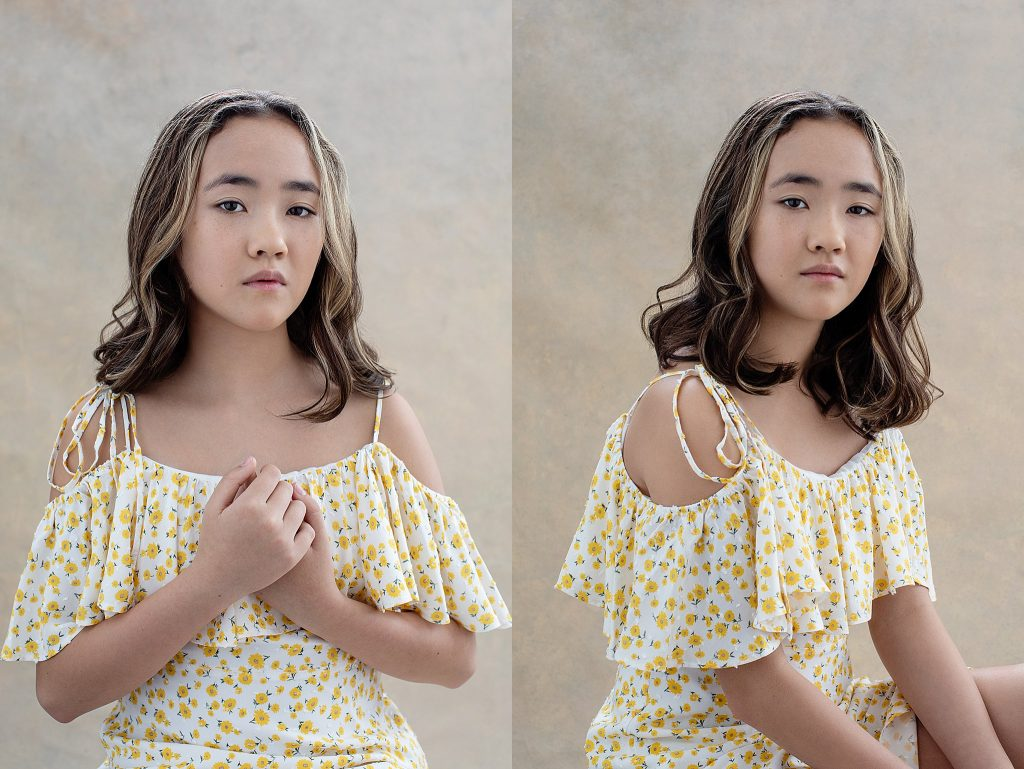 Portraits of a tween girl in floral dress
