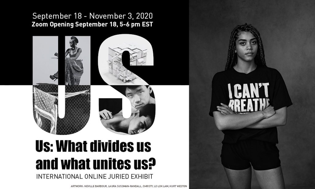 "Invitation card and portrait by photographer Maundy Mitchell for exhibit called ""Us: What divides us and what unites us?"" at the Touchstone Gallery, Washington, DC"