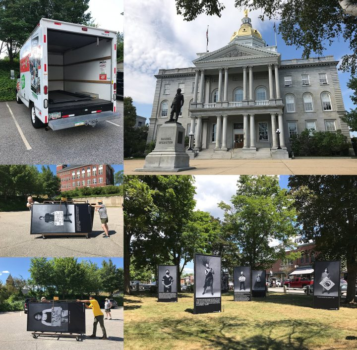 A collage of the Protest Portraits art installation and a photo of the NH State House