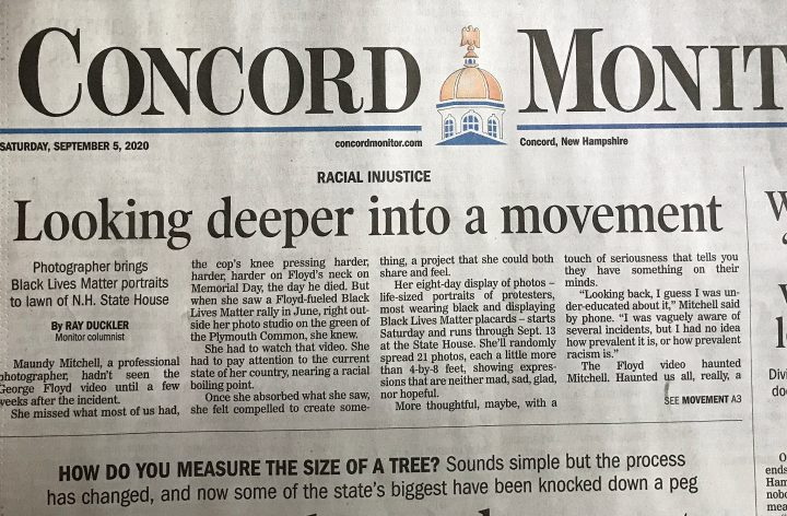 The Concord Monitor front page article about Protest Portraits