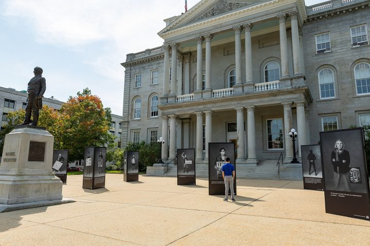 The Protest Portraits outdoor art installation, in front of the New Hampshire state capitol building in Concord, NH