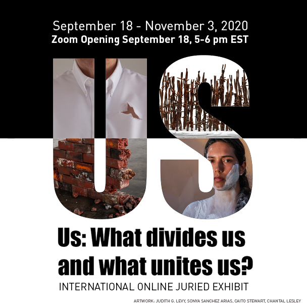 "Invitation card for exhibit called ""Us: What divides us and what unites us?"" at the Touchstone Gallery, Washington, DC"