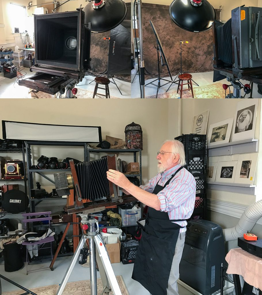 Gary Samson's 8x10 antique camera, portrait setup, and preparing to photograph a subject