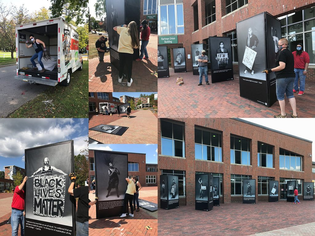 Installing the Protest Portraits Exhibit at the Hartman Union Building at Plymouth State University