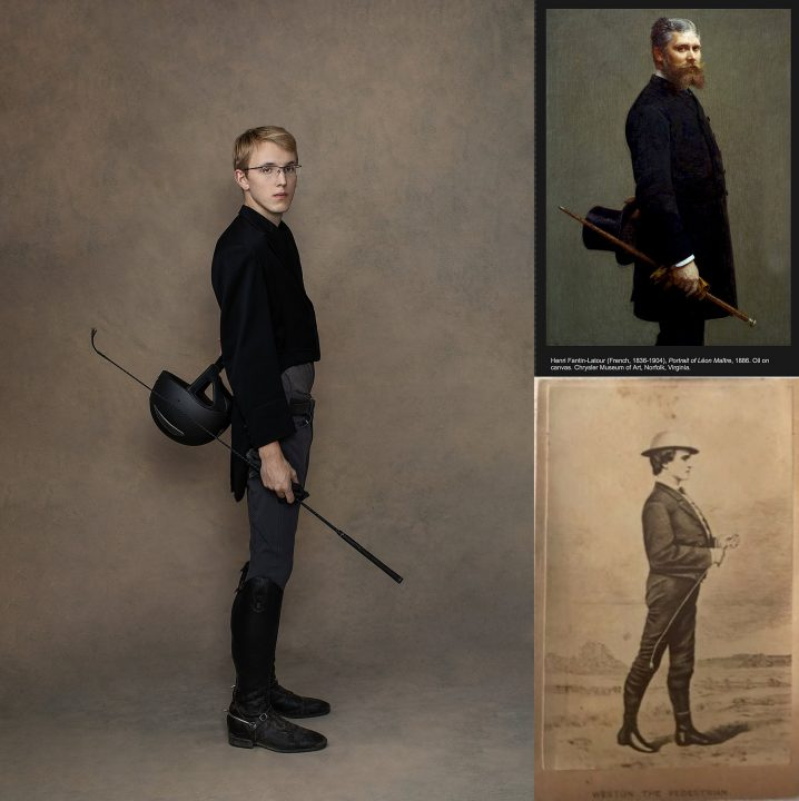 "Collage of three works:  Maundy Mitchell's photograph, ""Portrait of Tristan in Riding Gear,"" a painting by Henri Latour, ""Portrait of Leon Maitre,"" and an etching of Edward Payson Weston called ""The Pedestrian"""