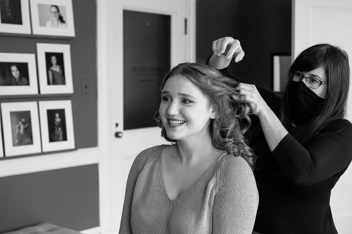 Hanna has professional hair and makeup styling before her headshot session at Maundy Mitchell Photography.