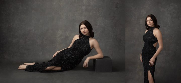 NH Portrait Photography - Vanity Fair-inspired Portraits of Mackenzie Wearing a Beaded Gown