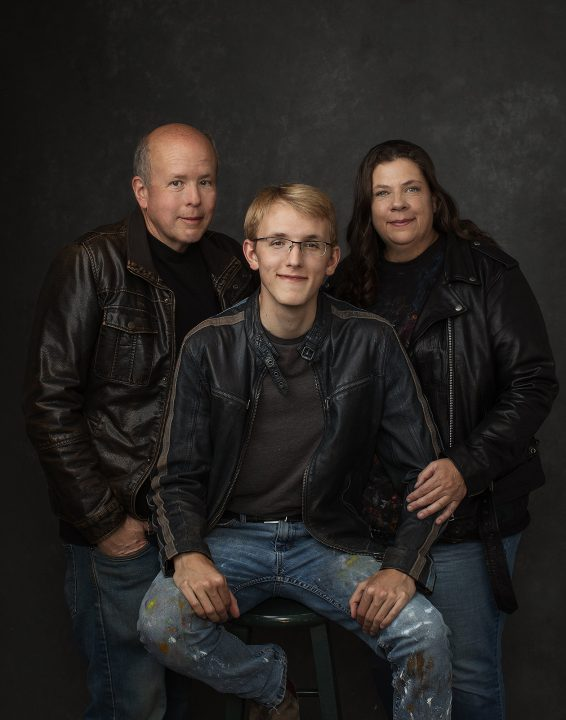 NH family photo session - MacDonald family wearing leather jackets
