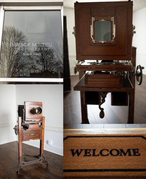 Maundy Mitchell Photography studio door, welcome mat, and antique tintype camera