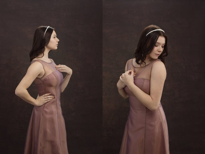 Artistic senior photos in Plymouth, NH - Mackenzie in mauve gown.