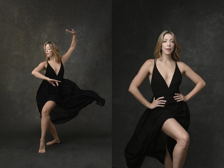 Two portraits of a dancer in a black flowy dress