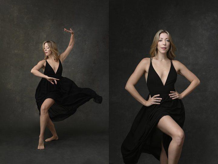 Two portraits of a dancer in a black flowy dress