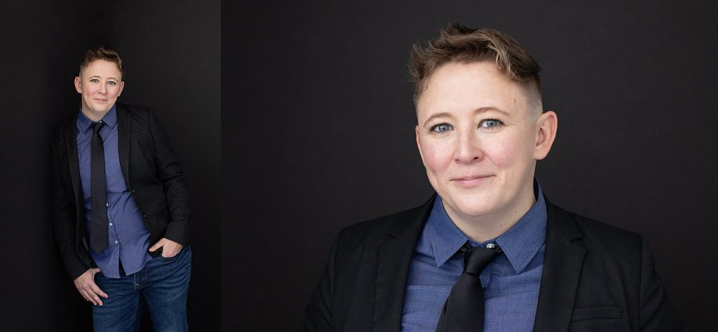 Headshot and personal branding images of Jini wearing shirt and tie on dark background