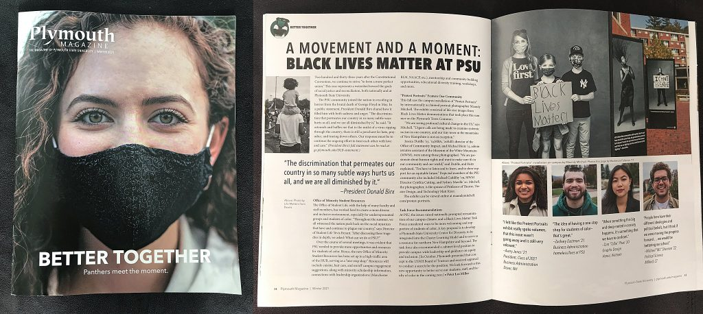 Winter 2021 article about the BLM movement at PSU, including the Protest Portraits exhibit in the fall of 2020.