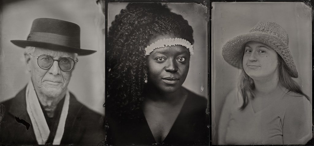 Collage of tintype portraits by Maundy Mitchell