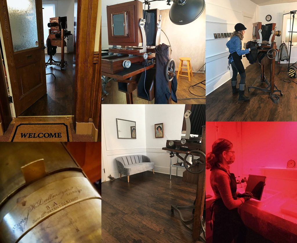 Behind the scenes at Maundy Mitchell's tintype studio in Plymouth, NH, USA