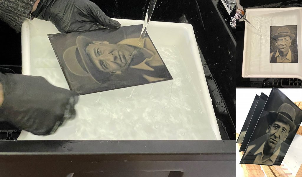 Behind the scenes - two of the last stages in hand-making a tintype portrait: rinsing and drying