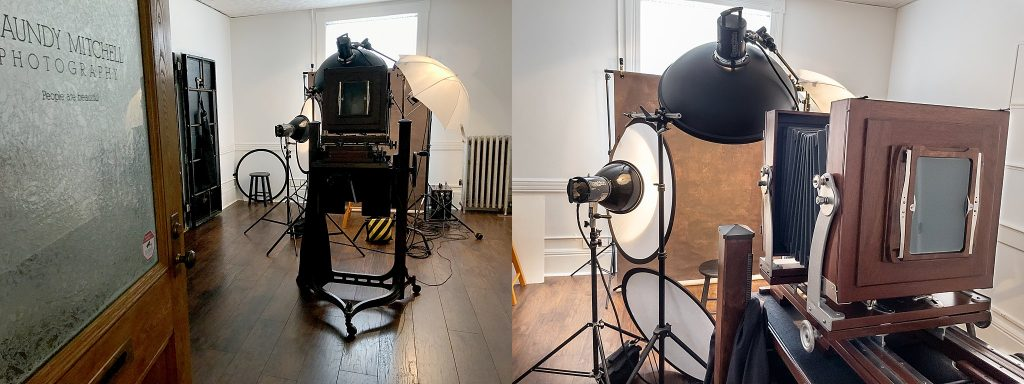 The antique Deardorff camera and the lighting setup