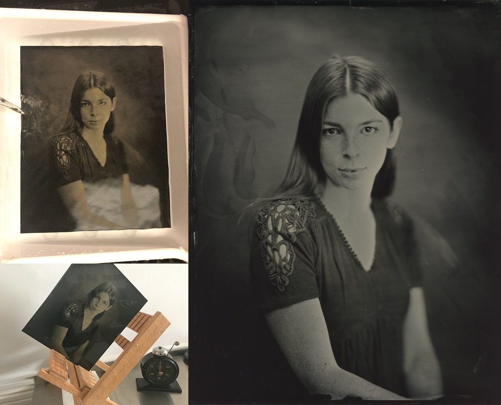 More steps in the tintype process:  rinsing and drying; a scan of the final image