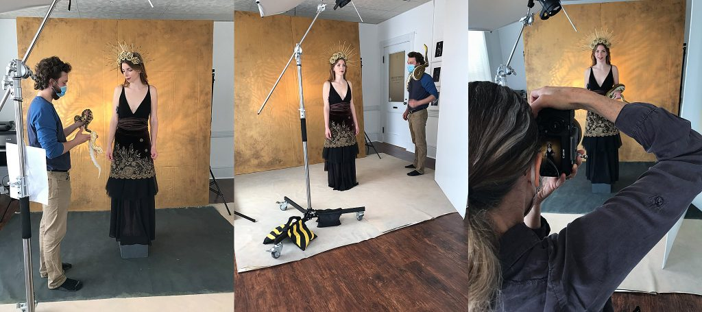A collage of behind the scenes photos from during the Snake Goddess photo session
