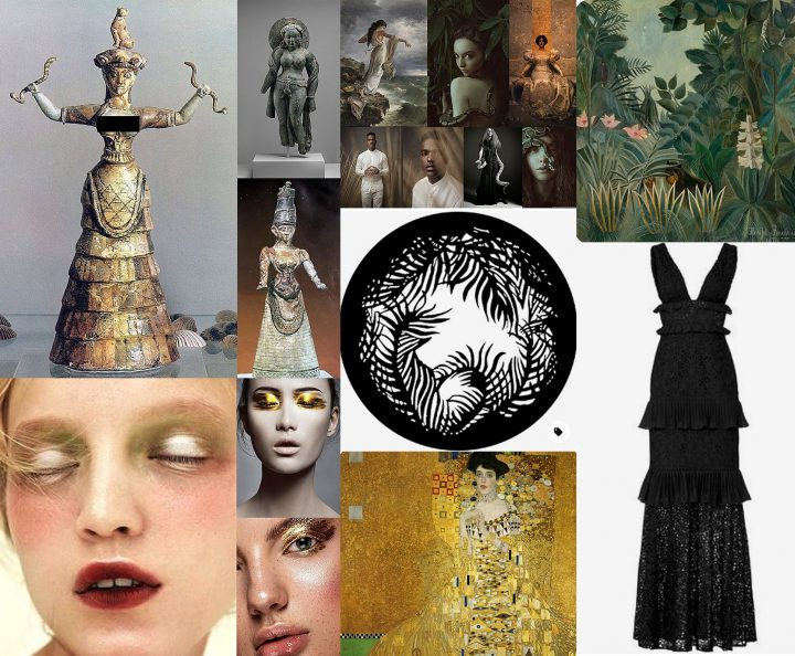 Collage from my Pinterest Mood Board for the Snake Goddess photo shoot.  It includes the Minoan Snake Goddess, Rousseau and Klimt paintings, gold makeup, a tiered rental dress, and a jungle leaf gobo.