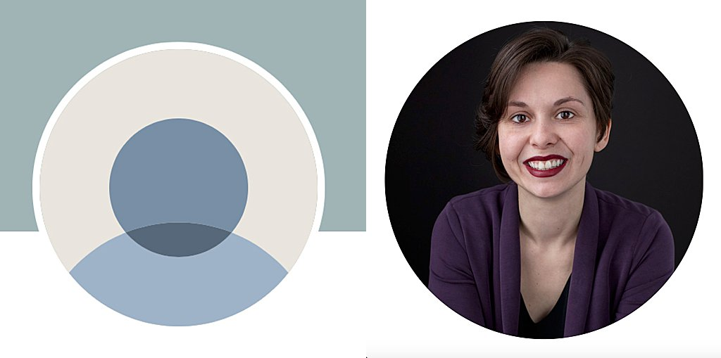 Before and after - a blank LinkedIn profile icon and a new professional headshot