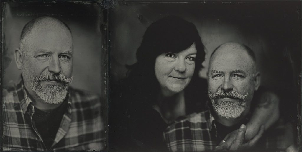 Tintype (ferrotype / wet-plate collodion) portraits of a couple