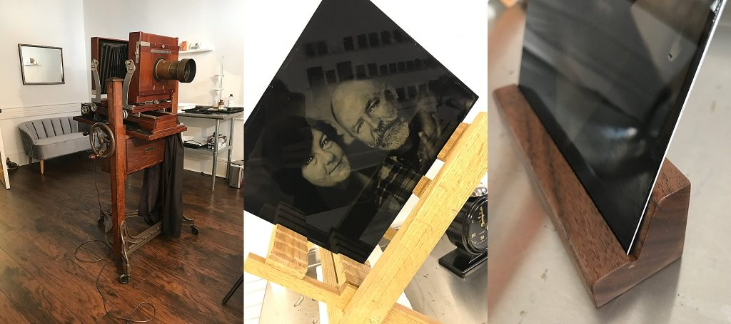 Collage of behind-the-scenes images from the tintype studio: the antique Deardorff camera, a portrait of a couple in the drying rack, and one of the new black walnut pedestals