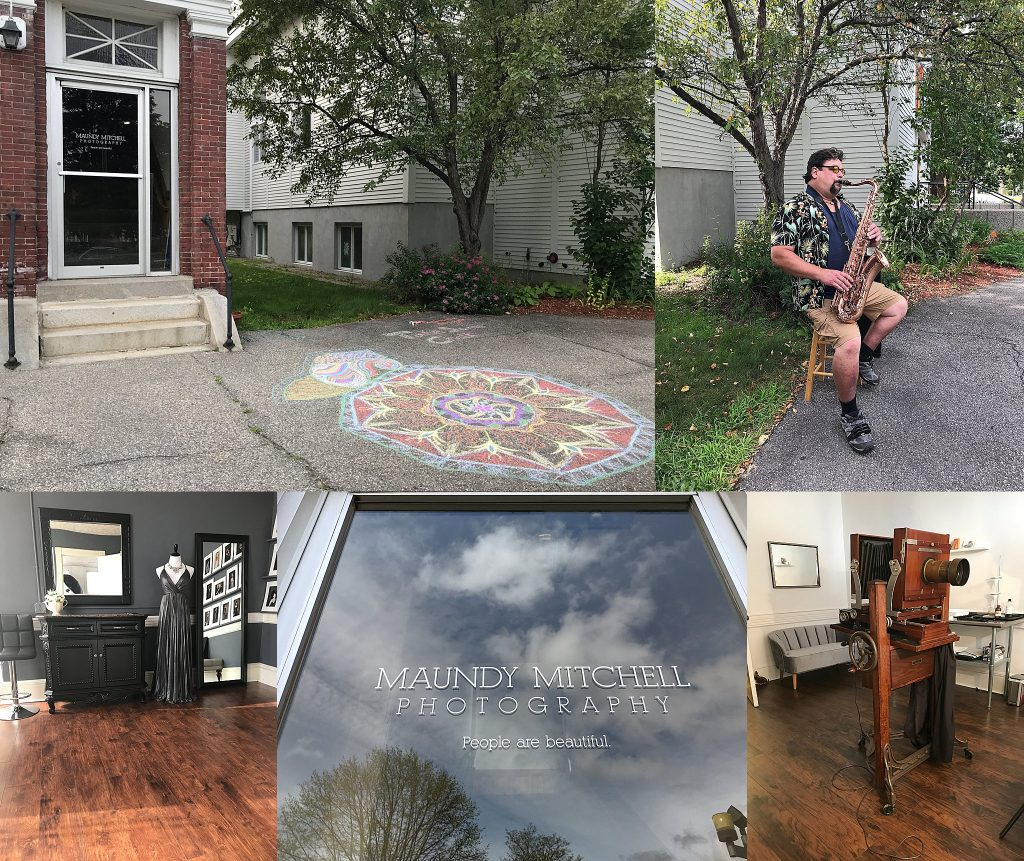 """Maundy Mitchell's studio outside with sidewalk chalk; musician Mark Flynn plays saxophone on the sidewalk in Plymouth, NH; the styling room at Maundy Mitchell Photography; the front door with """"People are beautiful"""" sticker; the antique Deardorff camera Maundy uses to make tintype portraits"""