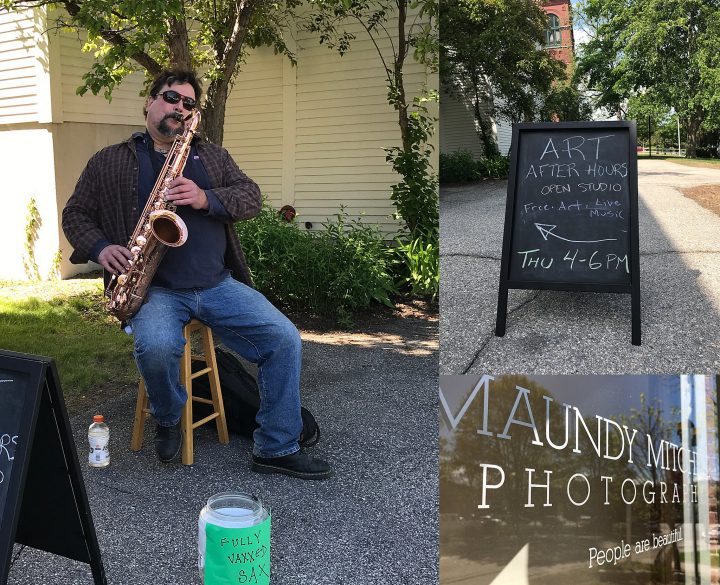 Saxophone player Mark Flynn plays on the sidewalk during Art After Hours at Maundy Mitchell Photography in Plymouth, NH