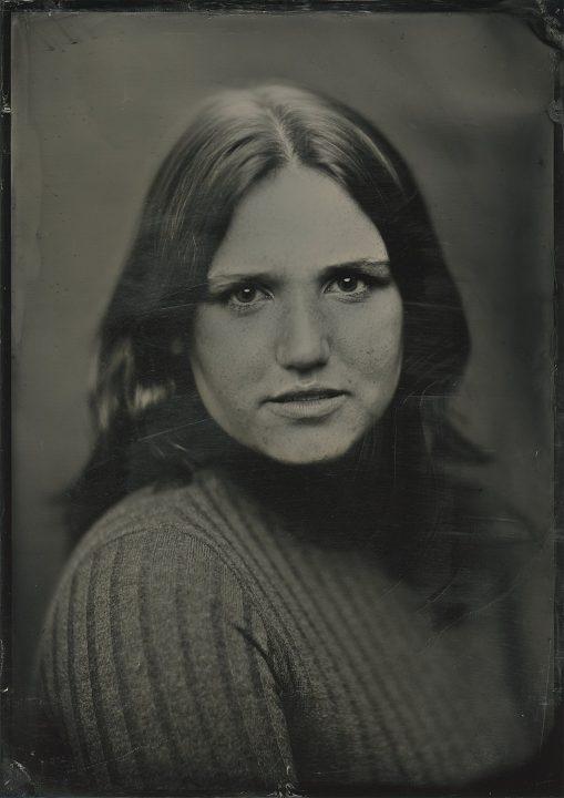 A 5x7 tintype portrait of Hanna