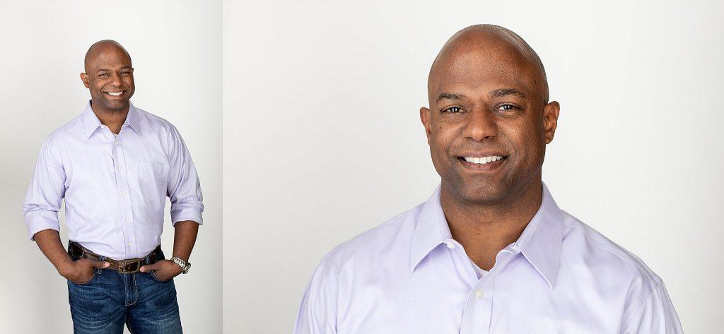 Professional headshots on a light background