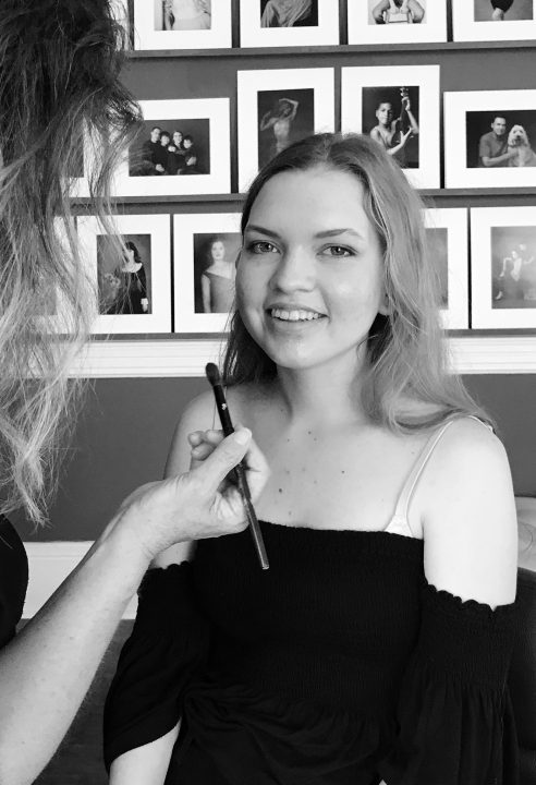 Chloe's headshot session - behind the scenes at the beginning:  hair and makeup styling by Donna Cotnoir